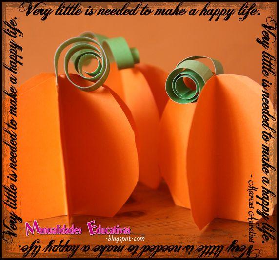 Calabazas de papel para halloween creciendo con montessori - Como hacer calabazas de halloween ...