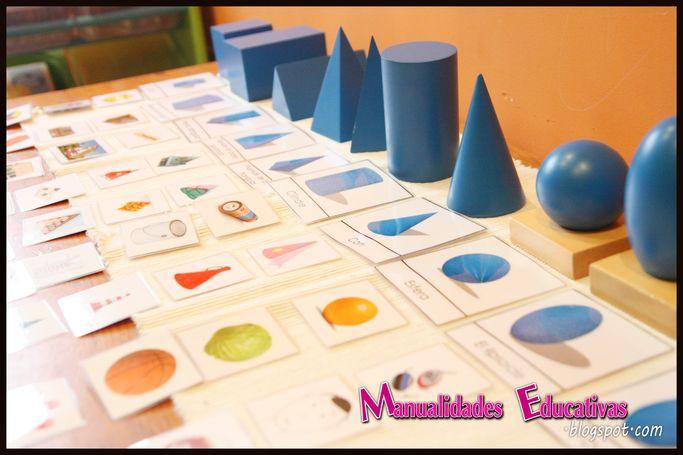 Slidos Geomtricos Montessori  Tarjetas para imprimir