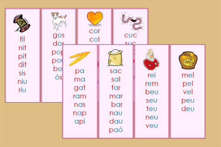 Tarjetas Serie Rosa de las Listas de Palabras