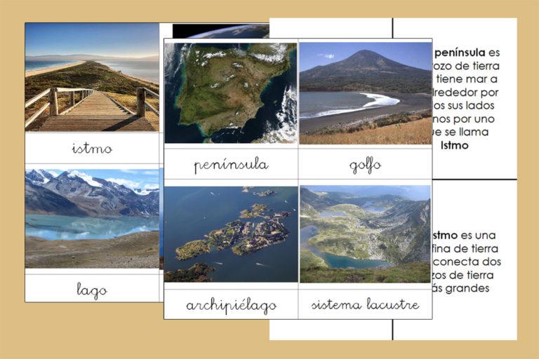 Formas de la tierra y el agua Montessori con imágenes reales