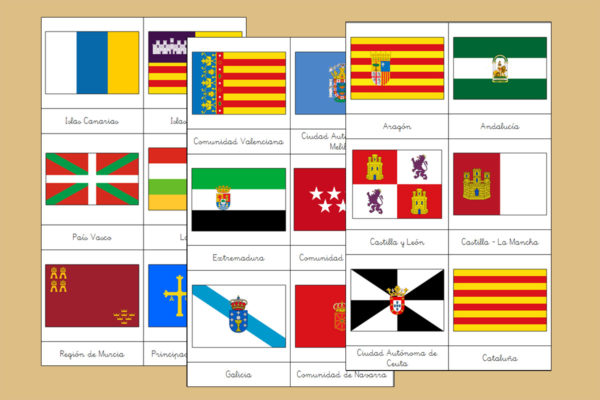 Tarjetas Montessori de las Banderas de España