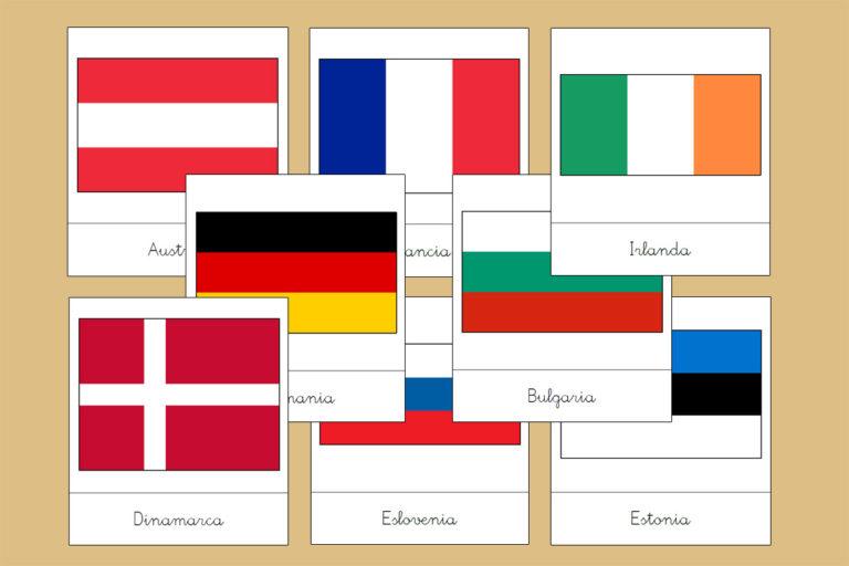 Tarjetas Montessori de las Banderas de Europa