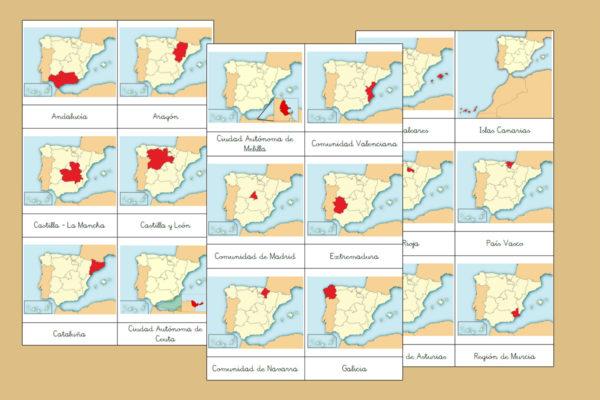 Tarjetas Montessori de las Comunidades Autónomas de España