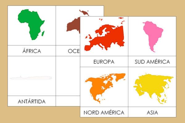 Tarjetas Montessori de los Continentes en grande