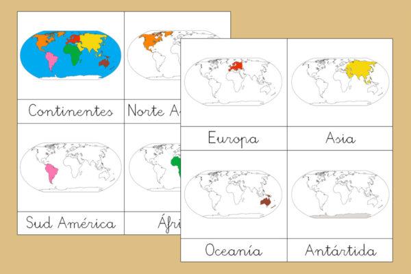 Tarjetas Montessori de los Continentes Posicional