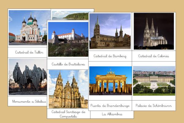 Tarjetas Montessori de los Monumentos más importantes de Europa