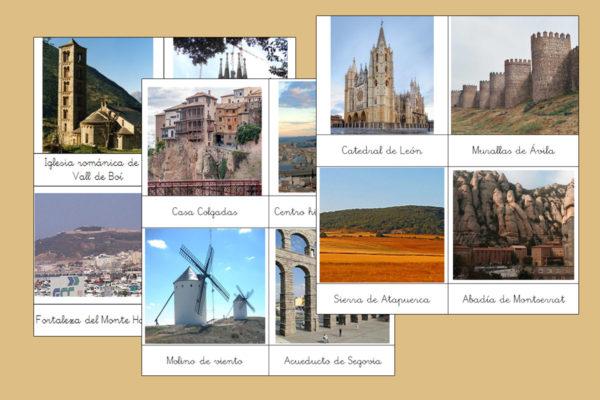 Tarjetas Montessori de los Monumentos más importantes de España
