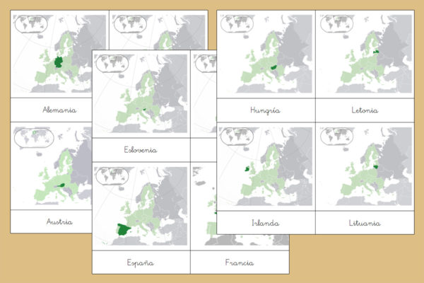 Tarjetas Montessori de los Países de Europa