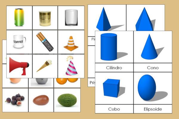 Tarjetas Montessori de los Sólidos Geométricos + Figuras