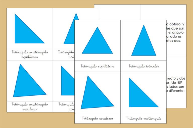 Tarjetas Montessori de los tipos de Triángulos