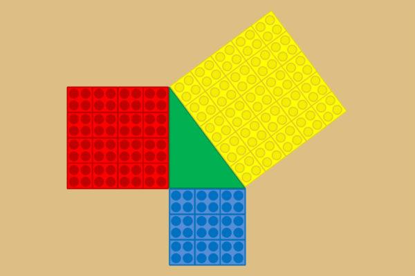 Plantilla para el Teorema de Pitágoras con Lego