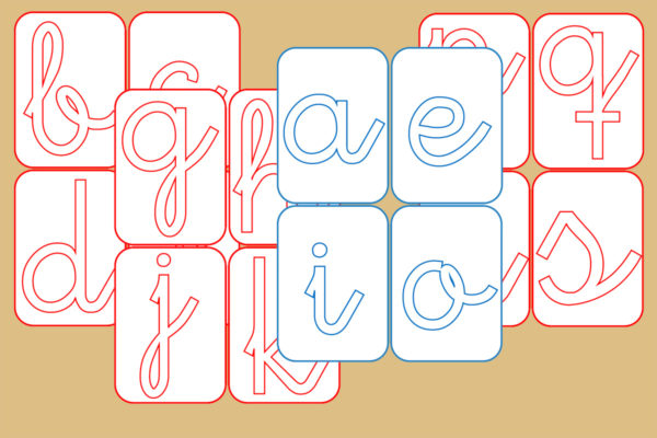 Tarjetas con Plantilla para Letras Cursiva