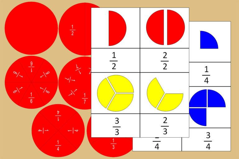 Tarjetas Montessori de los Peones Fraccionados + Círculos de Fracciones