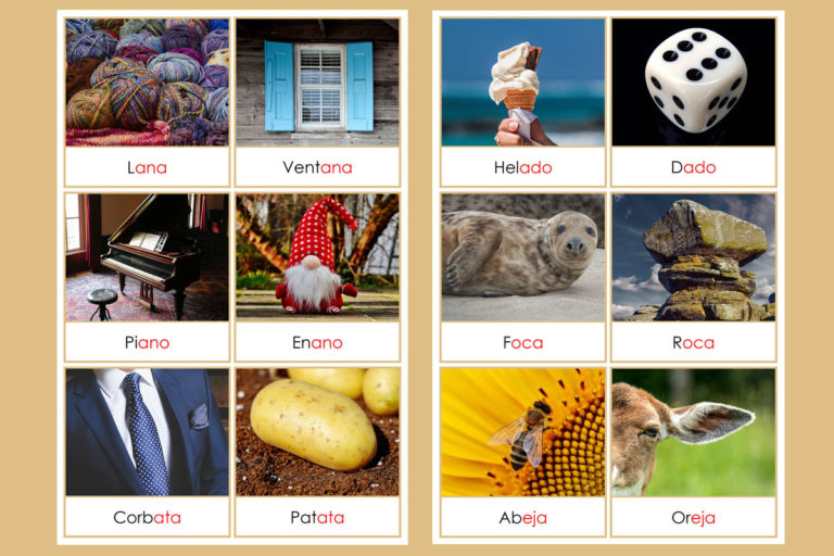 Tarjetas Montessori de Rimas con Fotos Reales